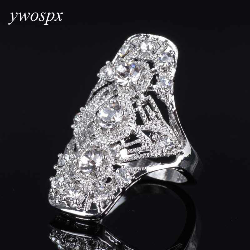 YWOSPX Luxurious Silver Color Cubic Zirconia Rings for Women Fashion Jewelry Wedding Anel Bijoux Zircon Hollow Ring Gifts