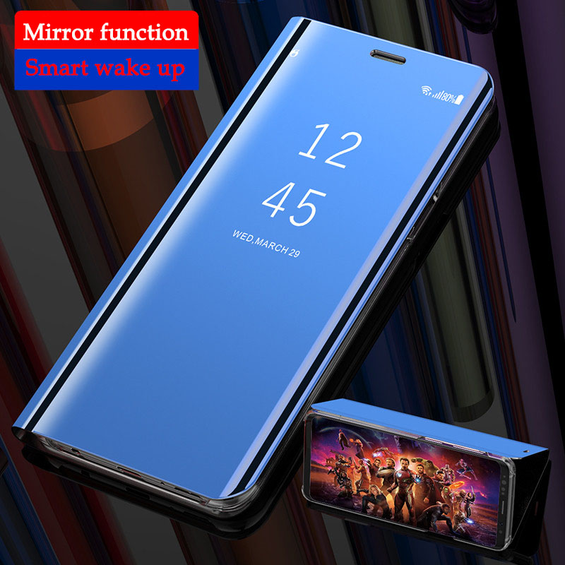 Phone Case for <font><b>OnePlus</b></font> 7 Pro 6T Case Smart Mirror Clear View Kickstand Luxury <font><b>Flip</b></font> Cases for <font><b>OnePlus</b></font> 7 One Plus 7Pro 6 6T <font><b>Cover</b></font> image