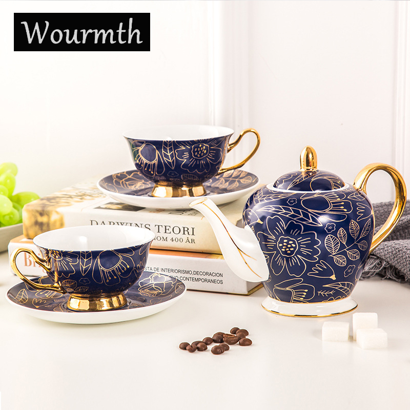 Wourmth 5 Pieces High-grade Bone China Coffee Pot Set Home Creative Ceramic Phnom Penh Luxury Coffee Cup Afternoon Tea Gift Box