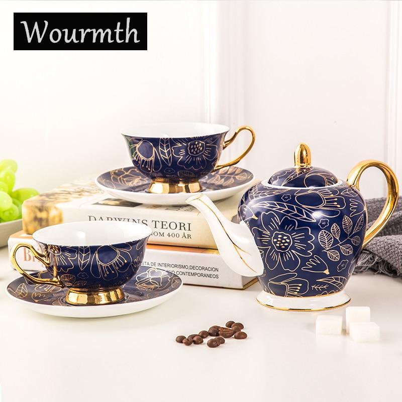 Wourmth 5 шт. высококачественный костяного фарфора кофейник, набор домашнего креативного керамического Пномпеня роскошный кофе чашка днем Под...