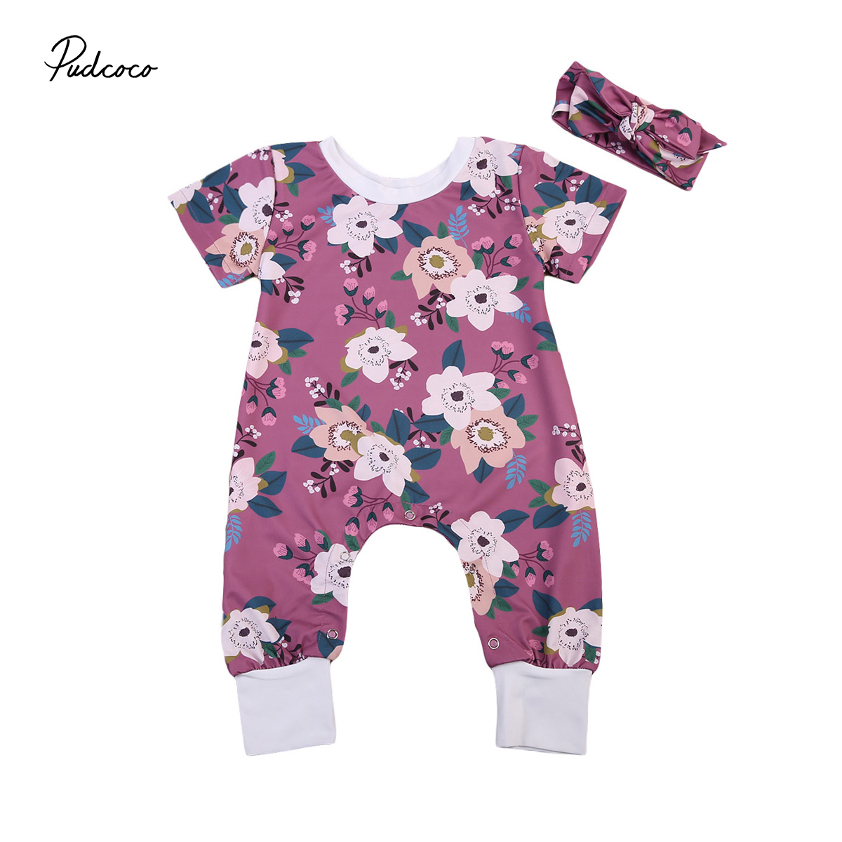 Pudcoco Cute Kids Baby Girls Short Sleeve Floral Romper Headband Outfits Casual Baby Cotton Summer Jumpsuits