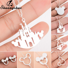 Shuangshuo Mickey Castle Pendants Necklaces Silver Chian Choker For Women Necklace Stainless Steel Catroon Animal collier femme