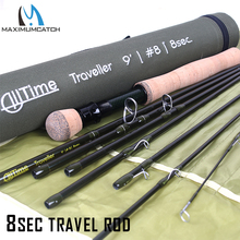 Maximumcatch Journey Fly Fishing Rod eight Sections Pure 30T Carbon Fiber Average Quick Motion With 43cm Coudura Rod Tube 4/5/eight WT