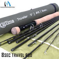 Maximumcatch Travel Fly Fishing Rod 8 Sections Pure 30T Carbon Fiber Moderate Fast Action With 43cm Coudura Rod Tube 4/5/8 WT