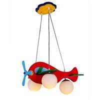 Cartoon children's lamps simple children's room chandelier aircraft lights creative chandelier wood lamps lighting