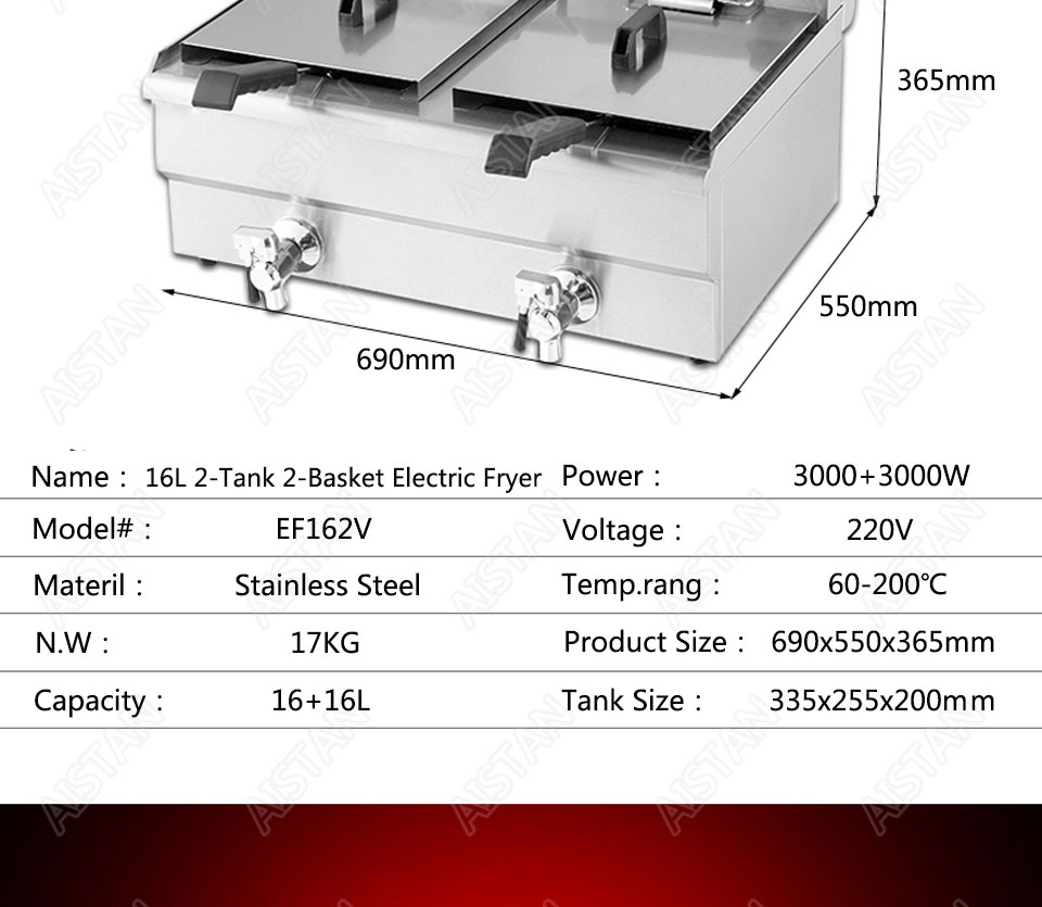 EF101V stainless steel electric deep fryer fried chicken fried potato chips for kitchen appliance 17