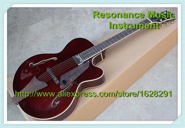 Cheap Classic G Custom Electric Guitar Hollow Body Jazz Guitar Wine Red F Holes In Stock Other Colors Available
