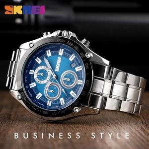 Image 4 - SKMEI קוורץ שעון גברים נירוסטה רצועה עמיד למים שעונים תאריך שעון איש אופנה מקרית ספורט צפה relogio masculino 1393