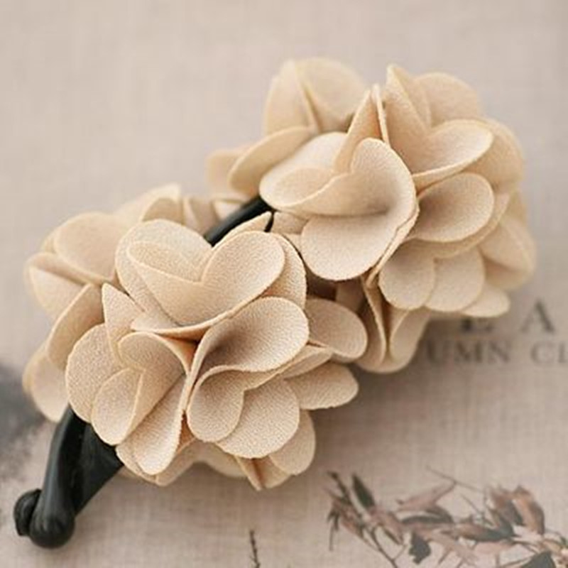 High Quality Solid Color Cotton Camellia Flowers Banana Hair Clip for Women Beautiful Flowers Barrettes for Girls new high quality beautiful hair izumi