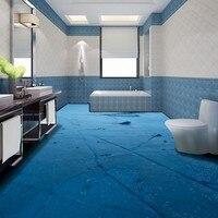 Free Shipping custom Coast beach stone 3D bedroom bathroom restaurant corridor floor Self adhesive mural wallpaper