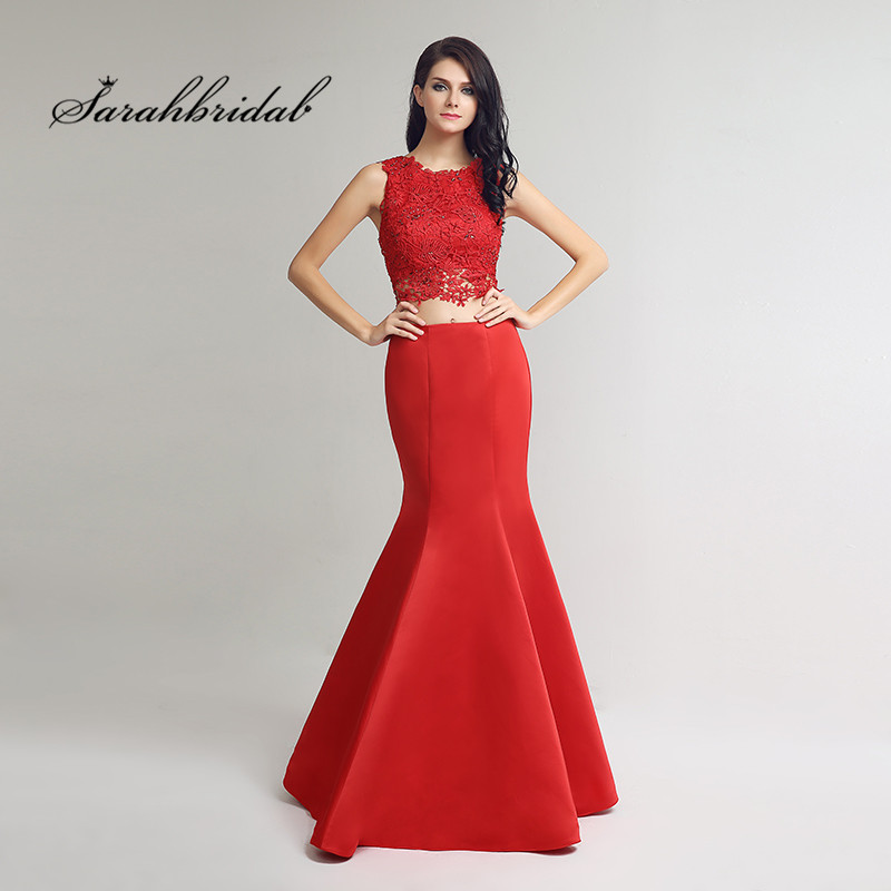 Romantic Classic Long Red   Prom     Dresses   Mermaid Satin Two Pieces Floor Length Sleeveless O-Neck Formal Gowns Back Zip Beads CC253
