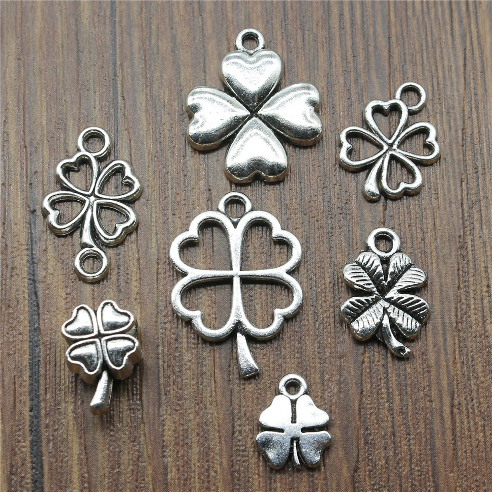 20pcs/lot Clover Pendant Charms Antique Silver Color Lucky Clover Charms Jewelry Diy Clover Lucky Charms For Bracelet Making