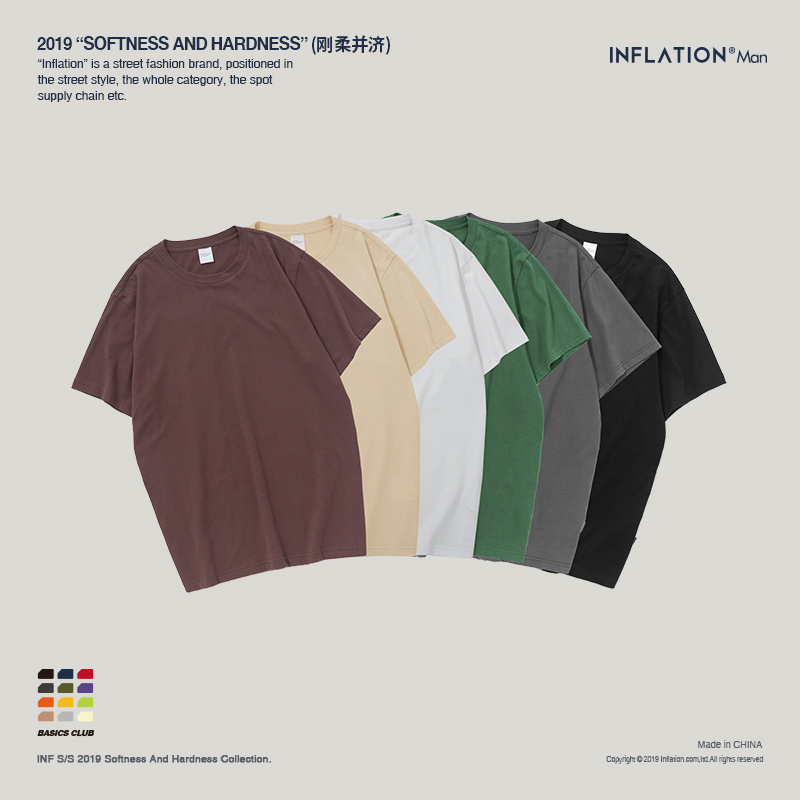 79ce94fb6760 INFLATION 2019 New Solid Color T Shirt Mens Multi-colour 100% cotton ...