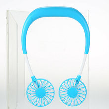 Office Dual Sports Summer USB Fan Rechargeable Portable Gift Hands Free Speed Adjustable Neck Band Ergonomic Silent Home Fitness(China)