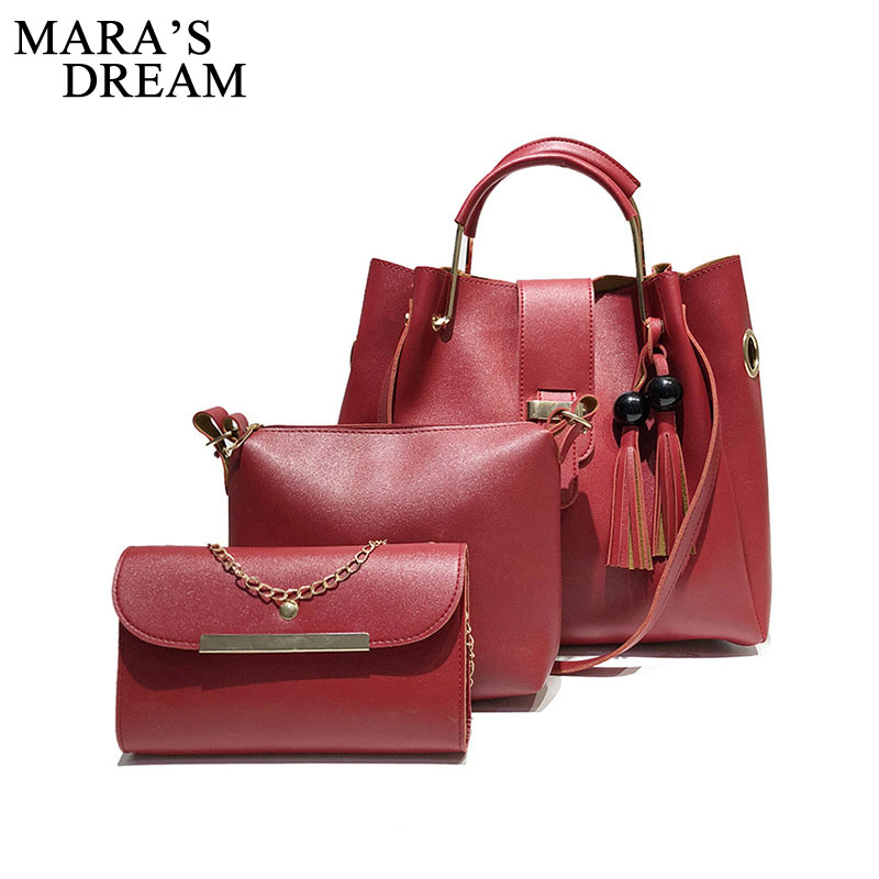 Mara's Dream 2018 Fashion Crossbody Bags For Women Leather Handbags Shoulder Bag Female Soft Solid Bag Women Messenger Bags Set 3