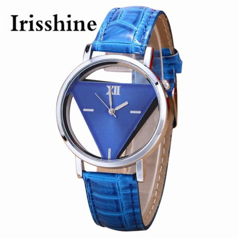 Irisshine I0685 Unisex Watches Mens Womens PU Leather Alloy Unique Hollowed-out Triangular Dial Black Fashion Watch Gift