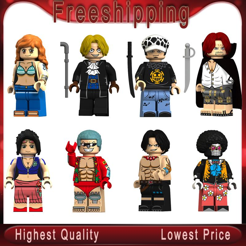 Japanese Cartoon One Piece  Luffy Nico Robin Franky Law Sabo Shanks Nami Ace Brook Blocks Xmas Gifts  KT1013
