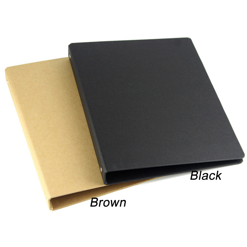 brown black A4 B5 A5 A6 kraft notebook office ring binder folder 4 6 20 26 holes rings spiral notebook cover