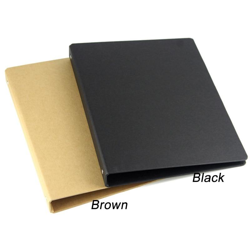 Brown Black A4 B5 A5 A6 Kraft Notebook Office Ring Binder Folder 4 6 20 26 Holes Rings Spiral Notebook Cover