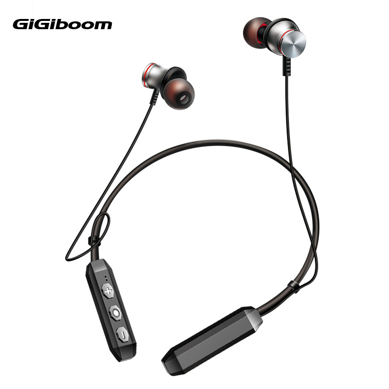GiGiboom Magnet Wireless Running Sport Bluetooth 4.1 Earphone Headphones with Mic Handsfree Stereo Earbuds Neckband Headset 2017 scomas i7 mini bluetooth earbud wireless invisible headphones headset with mic stereo bluetooth earphone for iphone android