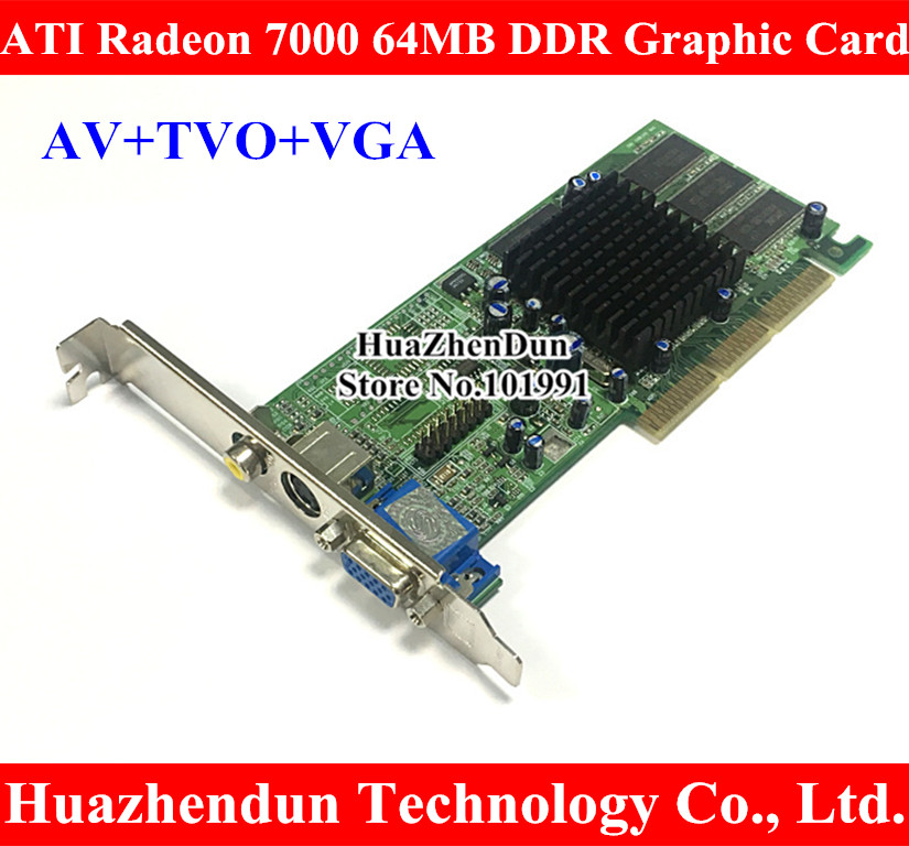 Brand New ATI Radeon 7000 64M DDR VGA TVO AV AGP Graphic Card Video Card VGA+TVO+AV High Quality original gpu veineda graphics cards hd6450 2gb ddr3 hdmi graphic video card pci express for ati radeon gaming