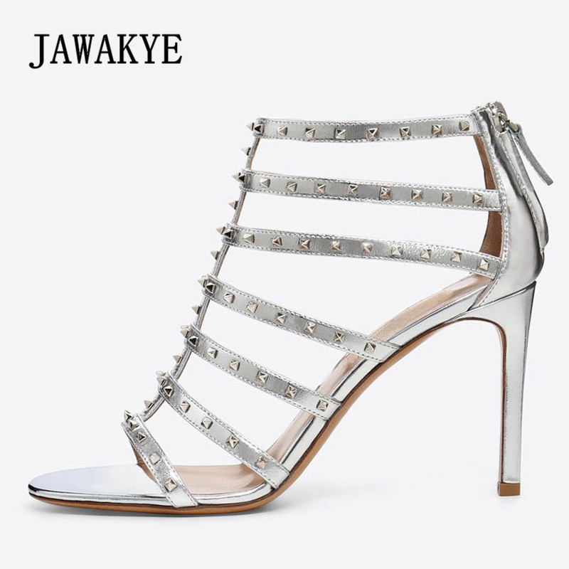 2018 Gold Silver Rivet Gladiator Sandals Women Open Toe T-strap Hollow High Heel Shoes Woman Ankle Boots For Women Summer silver and gold short boots women sandals hollow out back zipper open toe high heel stilettos plus size fold ankle boots