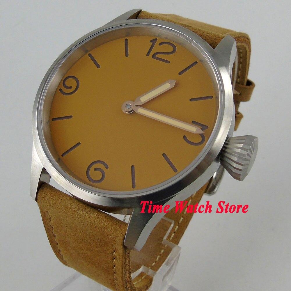 купить 43mm Parnis Men's watch sapphire glass yellow sandwich dial 17 jewels mechanical 6497 hand winding movement 984 по цене 6509.33 рублей