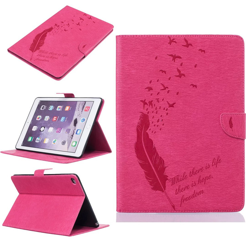 For Apple iPad 2 3 4 Case Fashion Tablet Feather Embossed PU Leather Flip Stand Case For iPad2 iPad3 iPad4 Cover Funda shell
