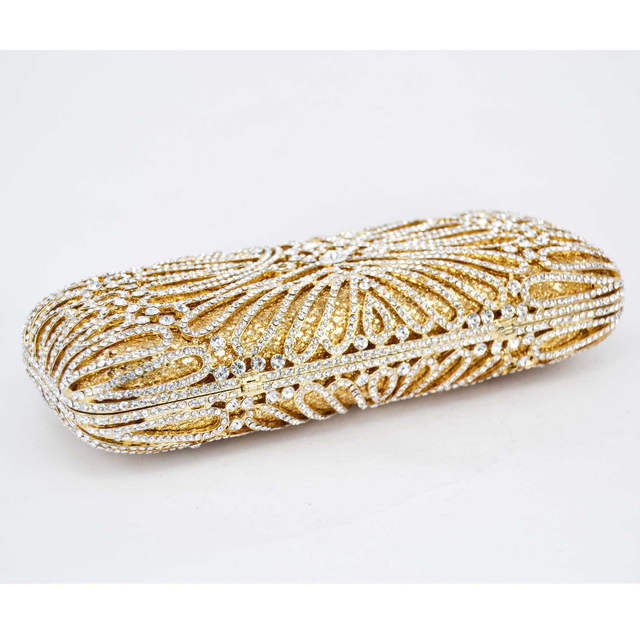 Long Gold Clutch bags Women Luxury crystal Prom handbags Ladies Evening Bag  Rhinestones pochette Party Purse 319014687b13
