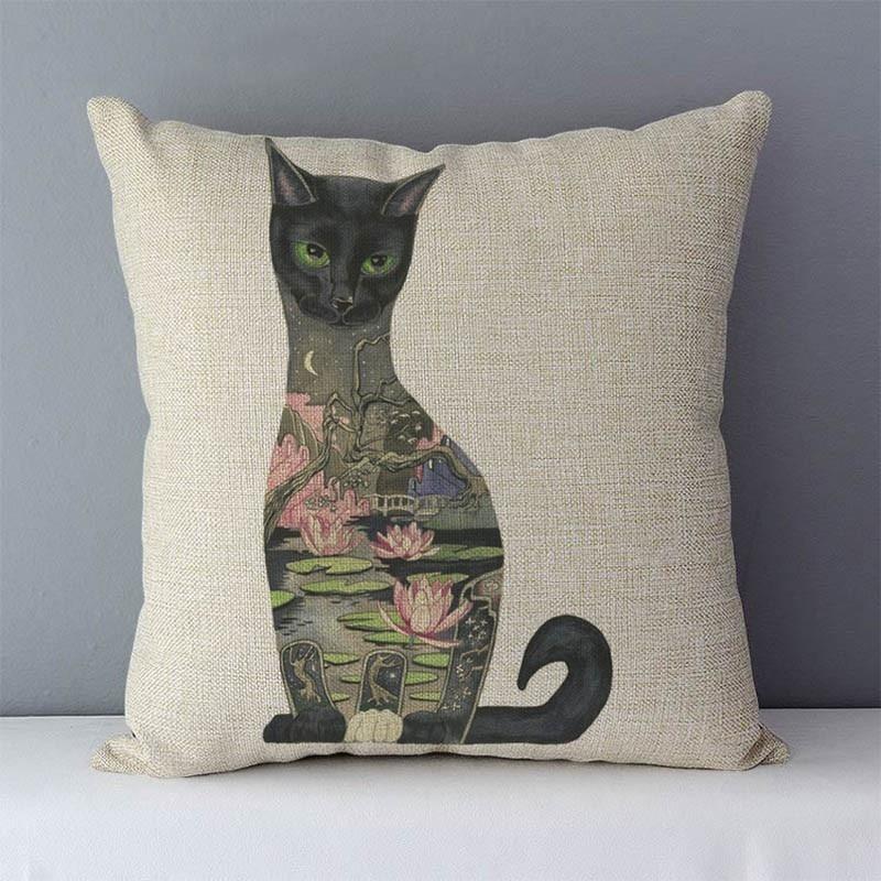 HTB1gpKkXojrK1RkHFNRq6ySvpXaT Selected Couch cushion Cartoon cat printed quality cotton linen home decorative pillows kids bedroom Decor pillowcase wholesale
