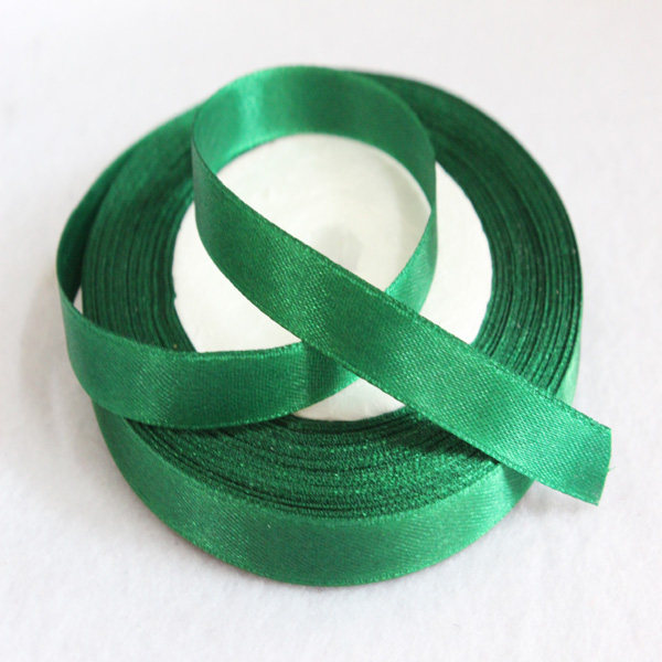 3 8 10mm Dark Green Satin Ribbon For Hairbow Diy Party Decoration 25yards Roll