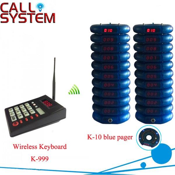 Беспроводная служба приема пищи вызова оборудования 1 компл. с 1 клавиатура и 20 пейджеры 433.92 мГц