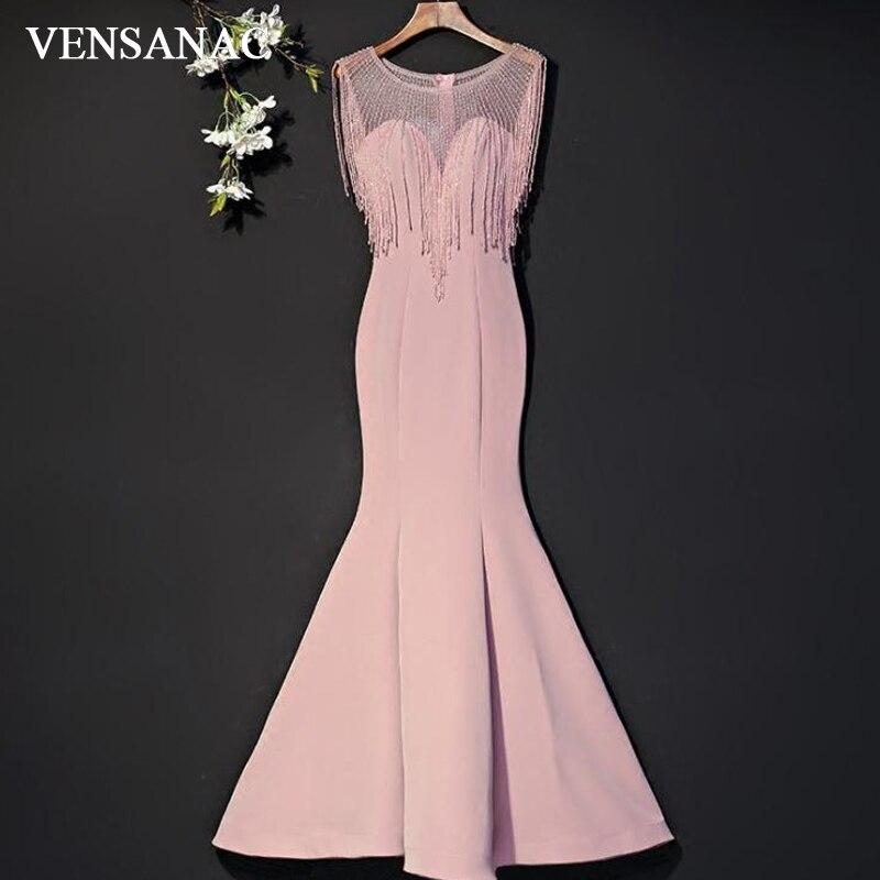 VENSANAC 2018 transparent O cou de luxe cristaux glands sirène longues robes de soirée Vintage réservoir Satin fête robes de bal