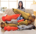 2016 New 3D Simulation Gold Arowana Kelisa Yellow Croker Lifelike Fish Plush Toy 27cm 10in Children Gift 1pcs Christmas Present