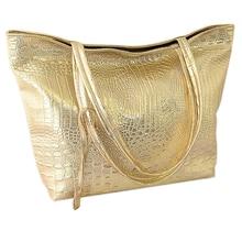 Новая мода и хорошего качества из PU искусственной кожи, из крокодиловой кожи искусственная кожа Для женщин сумка-тоут сумка с золотыми/Серебряный/черный Модные Сумки из натуральной кожи большой емкости