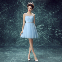 Baby Blue Short Prom Dress Robe De Cocktail Party Dresses 2017 Prom Dress Free Shipping