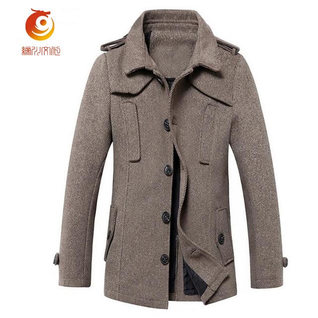 Blusão dos homens Longa Seção Masculina Coreano Magro Maré Casaco de Lã Casaco Longo Casaco de Abertura de Cama Collar Casacos de Inverno de Moda Masculina