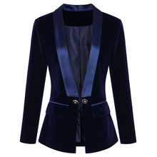 Two colors high quality 2018 autumn and winter new fashion solid color velvet fabric lapels button Slim women's Blazer