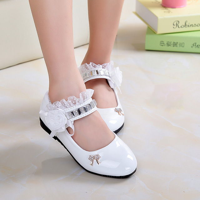 Lace Leather Shoes Children Shoes Girls Shoes Slip On Loafers Girls Moccasins High Quality Leather Flats Bowknot Kids