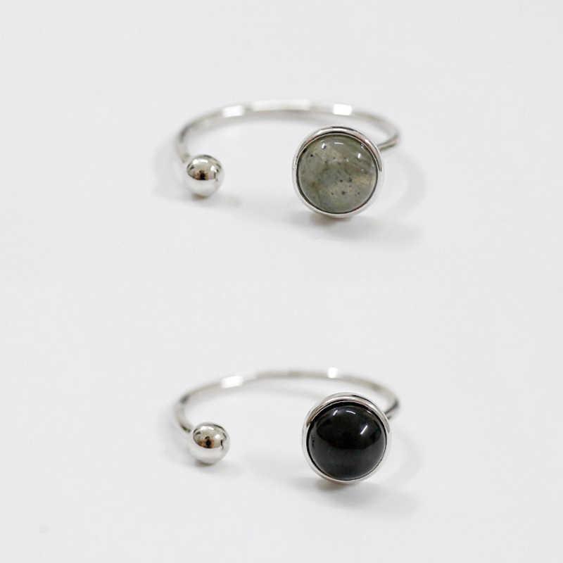 925 เงินสเตอร์ลิงแฟชั่นบุคลิกภาพเย็นลมเรขาคณิต Ball สีดำอาเกตเปิดแหวน