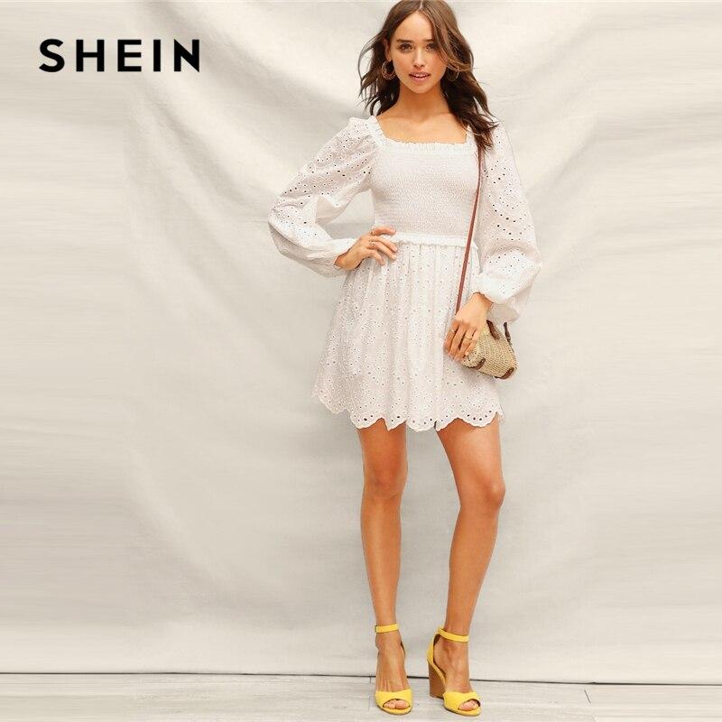 SHEIN Boho белая рубашка лиф оборка отделка вышитая ткань с отверстиями выход 2019 женское платье с квадратным вырезом Бишоп рукав