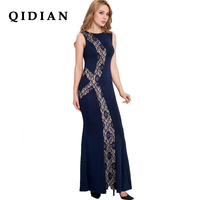 QI DIAN 2018 Spring New Stitching Lace Dress Slim Fashion O Neck Sexy Vestidos Hollow Out