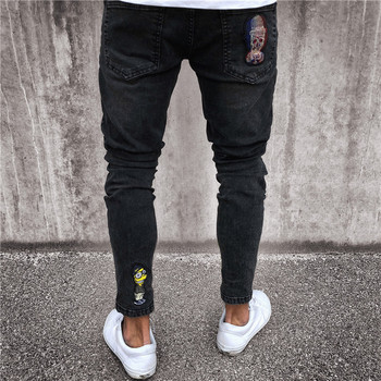 2018 Men brand embroidery jeans Fashion Men Casual Slim fit Straight High Stretch Feet skinny jeans men's black trousers homme 1