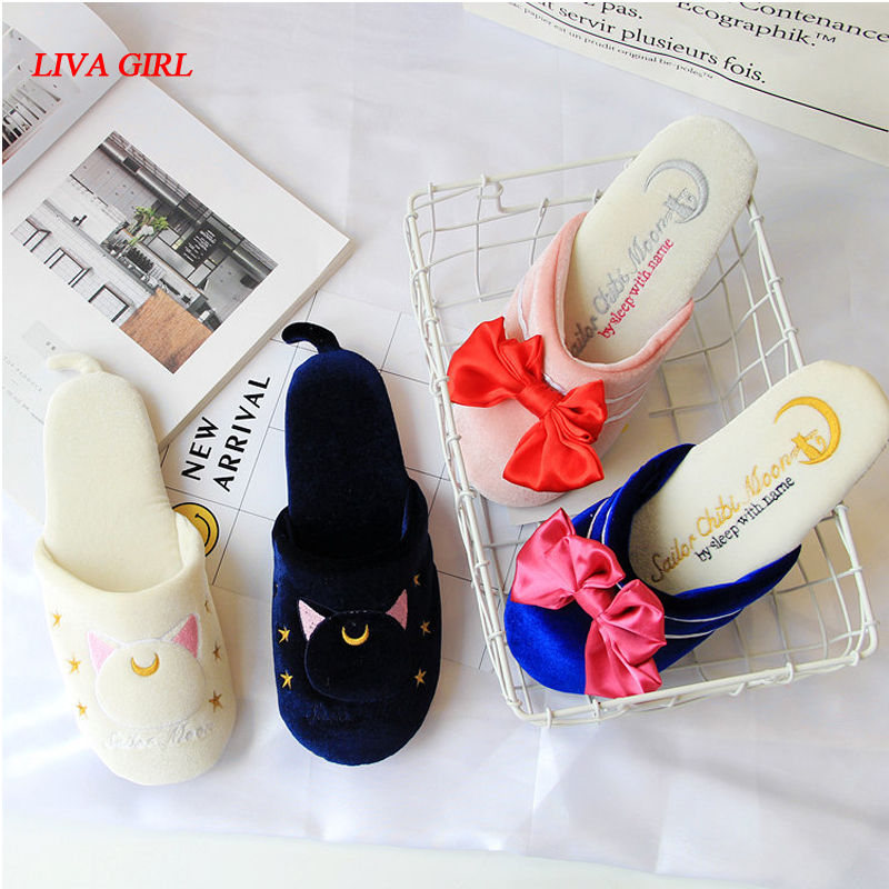 Shoes Anime Sailor Moon Luna Artemis Sailor Chibimoon Bowknot Home Shoes Velour Slipper Costume Cosplay Warm And Windproof