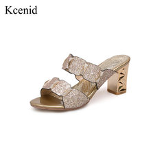 Kcenid Plus size 32-46 new fashion bling gold high heels shoes woman open  toe slip on pumps summer footwear fashion girls slides 9abbb1ae820e