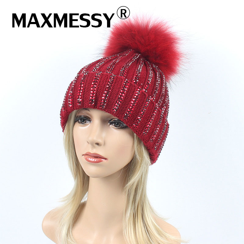 MAXMESSY Winter Hat For Women Knitted   Skullies     Beanies   Raccoon Dyed Fur Warm Ear Rhinestones Thickened Hat Multicolor Cap