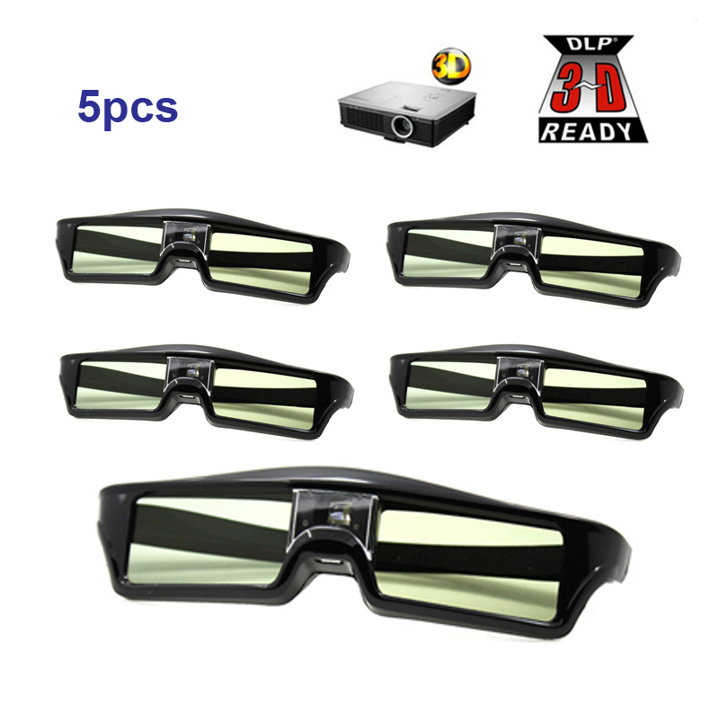 Free Shipping!!5PCS Active shutter 144Hz 3D Glasses For Acer/BenQ/Optoma/View Sonic/Dell DLP-Link Projector 3d active shutter glasses for dlp link projector