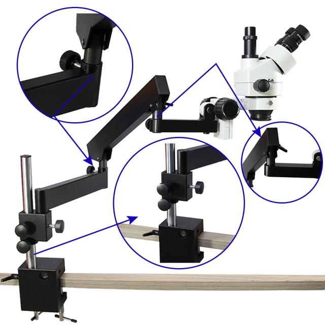 Luckyzoom Simul-Focal 3.5X-90X Trinocular Stereo Microscope Articulating Arm Clamp Microscope 0.5X 2.0X Objective Lens 144 Light