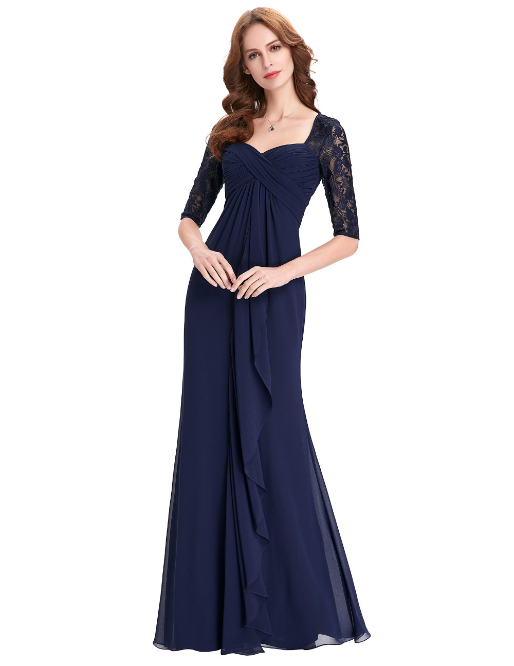 Navy Blue 2018 Mother of the Bride Dresses Lace Dress Elegant Half Sle – T  A Y Online Store ea0e0008829c