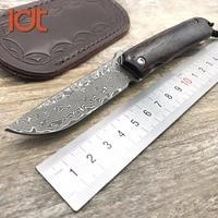 LDT Judge Pocket Folding Knife Damascus Blade Sandal Wood Handle Knives Survival Hunting Outdoor Knife Rescue Camping EDC Tools